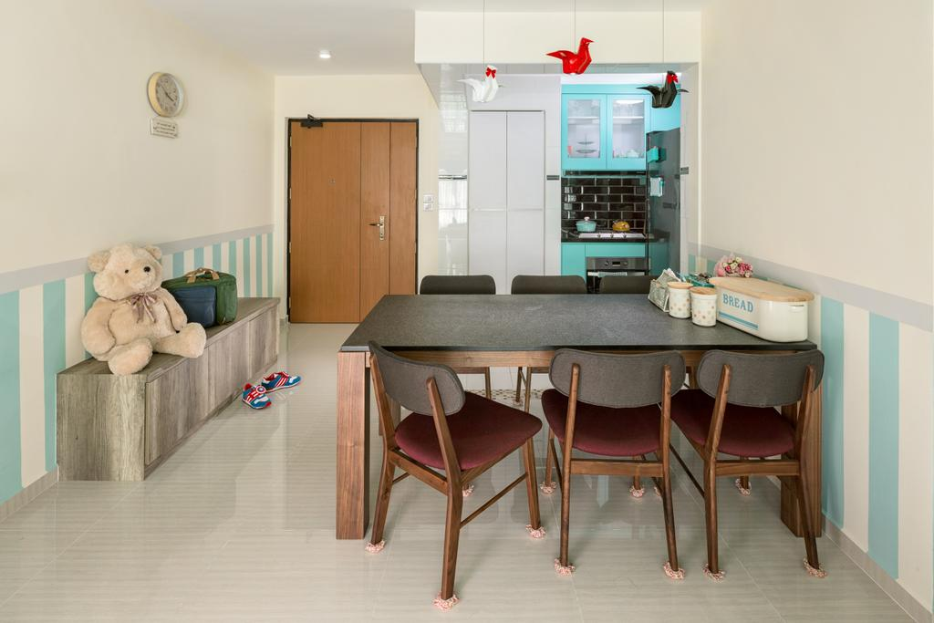 Traditional, HDB, Dining Room, Yishun Orchid Spring (Block 432A), Interior Designer, Absolook Interior Design, Chair, Furniture, Teddy Bear, Toy, Dining Table, Table