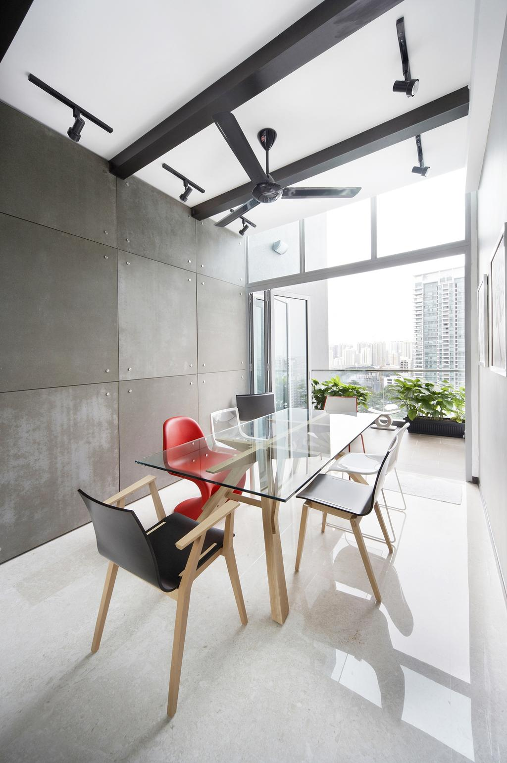 Eclectic, Condo, Dining Room, Zedge, Interior Designer, Free Space Intent, Glass Dining Table, Dining Table, Black Fan, Full Length Window, Chair, Furniture, Balcony, Table, Indoors, Interior Design, Room, Flora, Jar, Plant, Potted Plant, Pottery, Vase, HDB, Building, Housing