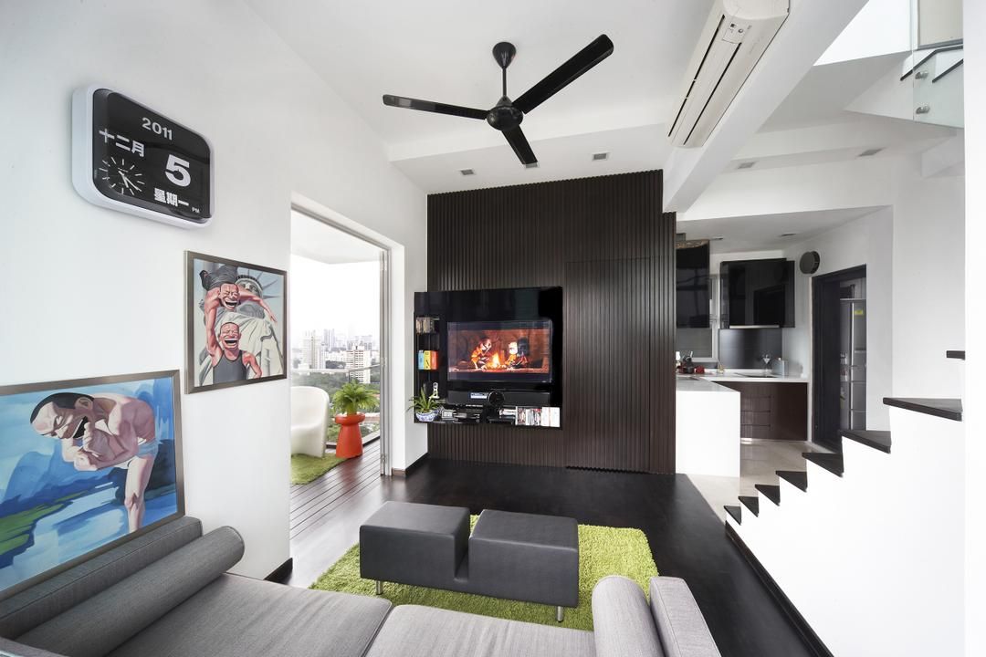 Zedge, Free Space Intent, Eclectic, Living Room, Condo, Wall Art, Painting, Black Fan, Wooden Laminate, Human, People, Person, Fireplace, Hearth, Couch, Furniture, Alarm Clock, Clock