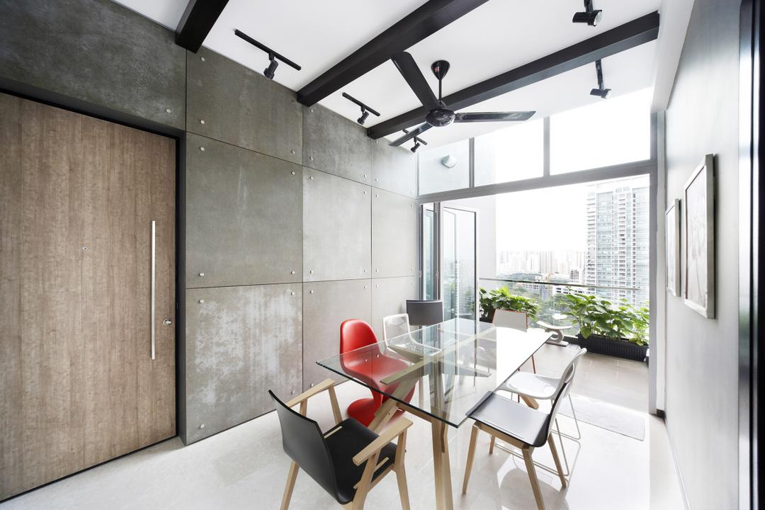Zedge, Free Space Intent, Eclectic, Dining Room, Condo, Black Fan, Glass Dining Table, Wooden Door, Chair, Furniture, Balcony, Dining Table, Table