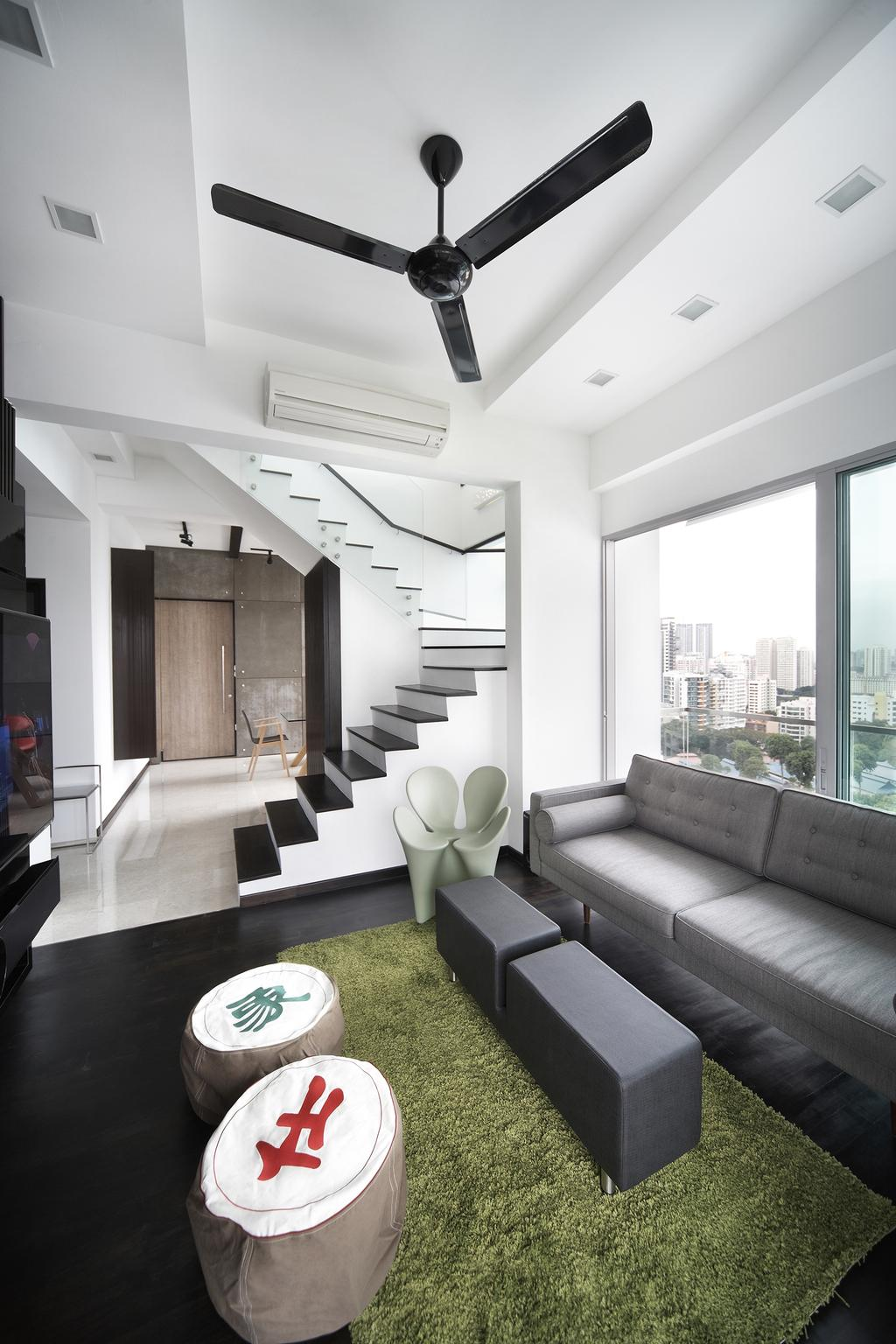 Eclectic, Condo, Living Room, Zedge, Interior Designer, Free Space Intent, Full Length Window, Grey Sofa, Gray Sofa, Couch, Furniture, Chair, HDB, Building, Housing, Indoors, Loft, Room