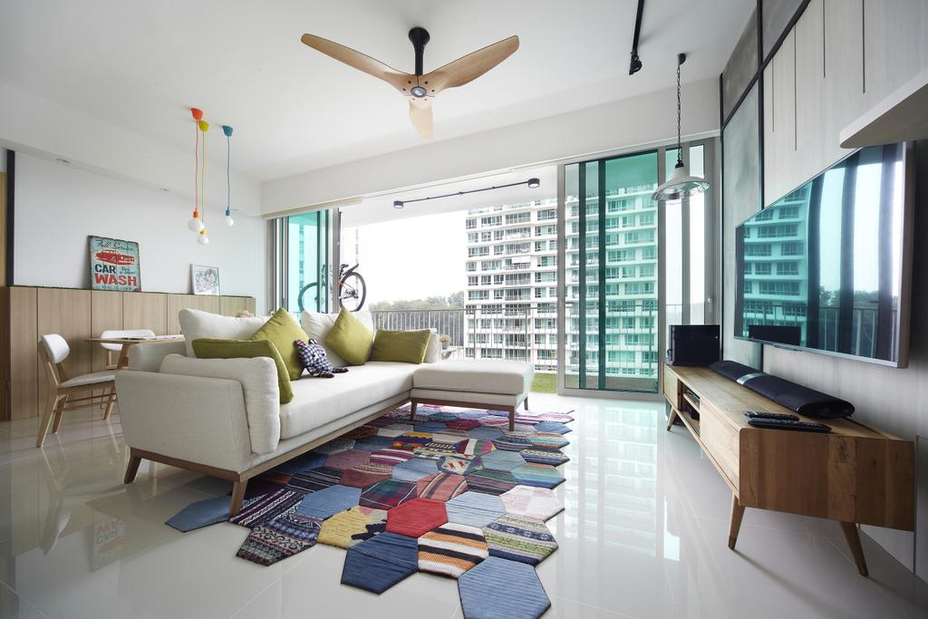 Scandinavian, Condo, Living Room, Tree House, Interior Designer, Free Space Intent, Wooden Fan, Track Light, Rug, Hanging Light, Wooden Console, Laminate, Couch, Furniture