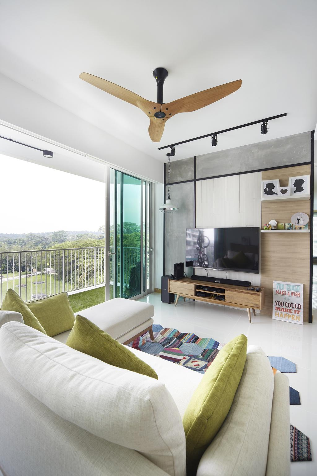 Scandinavian, Condo, Living Room, Tree House, Interior Designer, Free Space Intent, Full Length Windows, Wooden Fan, Black Track Lights, Trackie, Wooden Laminate, Rug, Console