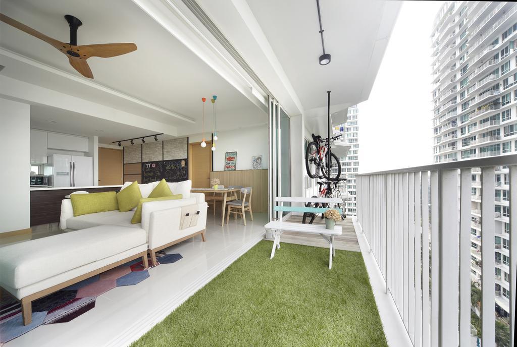Scandinavian, Condo, Garden, Tree House, Interior Designer, Free Space Intent, Wooden Fan, Balcony, Grass, White Sofa, Couch, Furniture, Indoors, Interior Design
