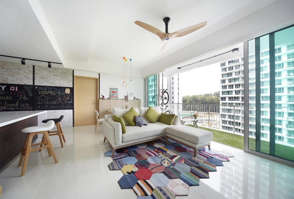 Scandinavian, Condo, Living Room, Tree House, Interior Designer, Free Space Intent, Patterned Rug, Wooden Fan, Full Length Windows, Sliding Windows, Sliding Doors, Trackie, Black Track Lights, Sofa, Couch, Furniture, Indoors, Room, Coffee Table, Table, Interior Design, Dining Table