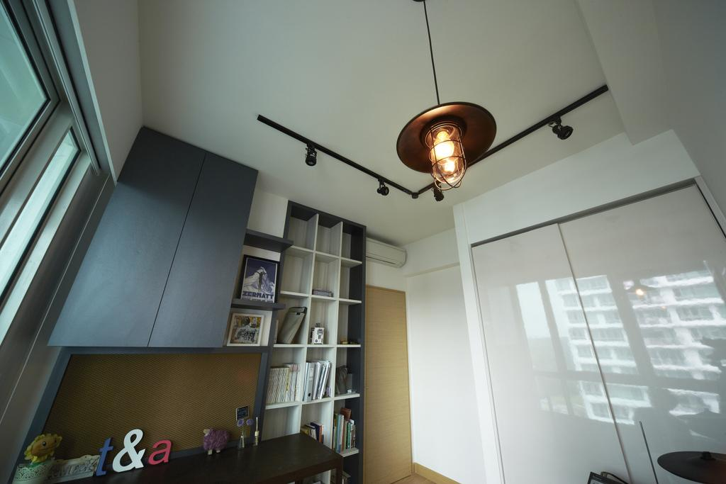 Scandinavian, Condo, Study, Tree House, Interior Designer, Free Space Intent, Hanging Light, Black Track Light, Trackie, Laminate, Bookshelf, Lighting, Bookcase, Furniture, HDB, Building, Housing, Indoors, Loft, Dining Room, Interior Design, Room
