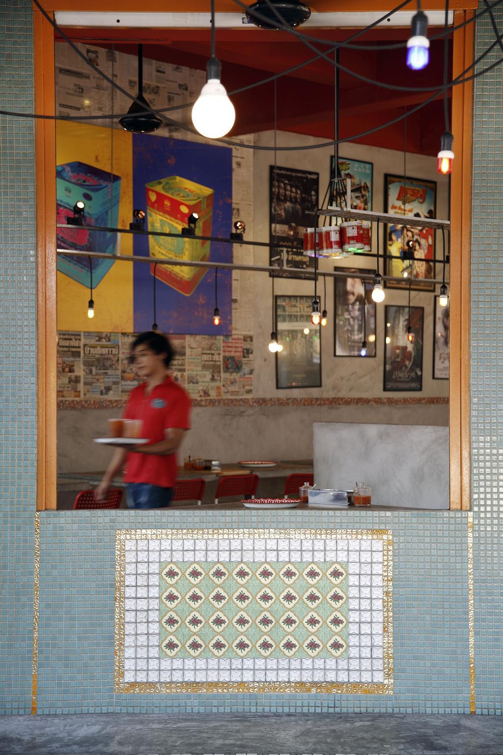 Tom Yum Kung Fu - Serangoon Garden, Commercial, Interior Designer, Free Space Intent, Vintage, Mosaic Tiles, Wall Art, Painting, Hanging Light, Exposed Lightbulb, Human, People, Person