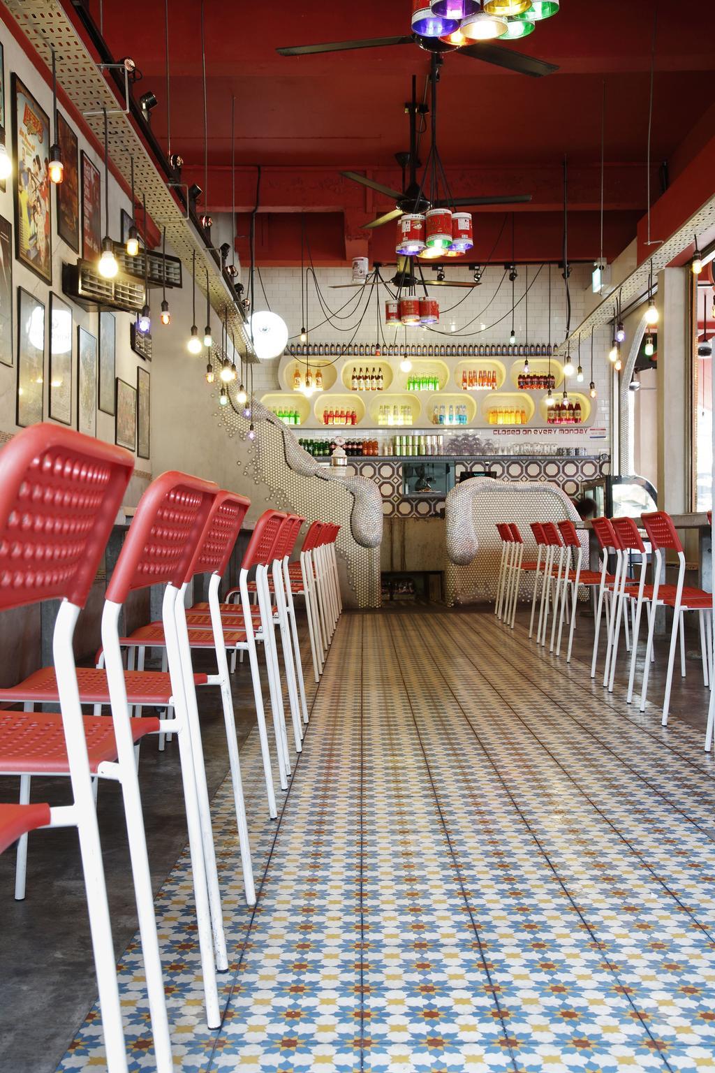 Tom Yum Kung Fu - Serangoon Garden, Commercial, Interior Designer, Free Space Intent, Vintage, Hanging Lights, Exposed Lightbulb, Mosaic Tiles, Chair, Furniture, Diner, Food, Meal, Restaurant