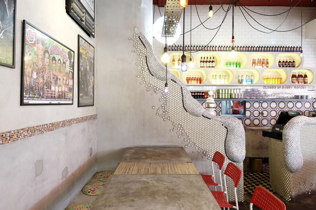 Tom Yum Kung Fu - Serangoon Garden, Free Space Intent, Vintage, Commercial, Wall Art, Painting, Hanging Light, Exposed Light Bulb, Mosaic Tiles