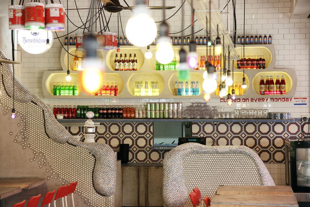 Tom Yum Kung Fu - Serangoon Garden, Free Space Intent, Vintage, Commercial, Hanging Light Bulb, Exposed Lightbulb, Hanging Light, Tiles, Chair, Furniture