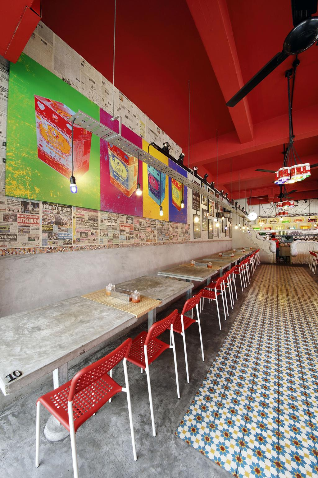 Tom Yum Kung Fu - Serangoon Garden, Commercial, Interior Designer, Free Space Intent, Vintage, Wall Art, Painting, Mosaic Tiles, Dining Table, Furniture, Table, Diner, Food, Meal, Restaurant