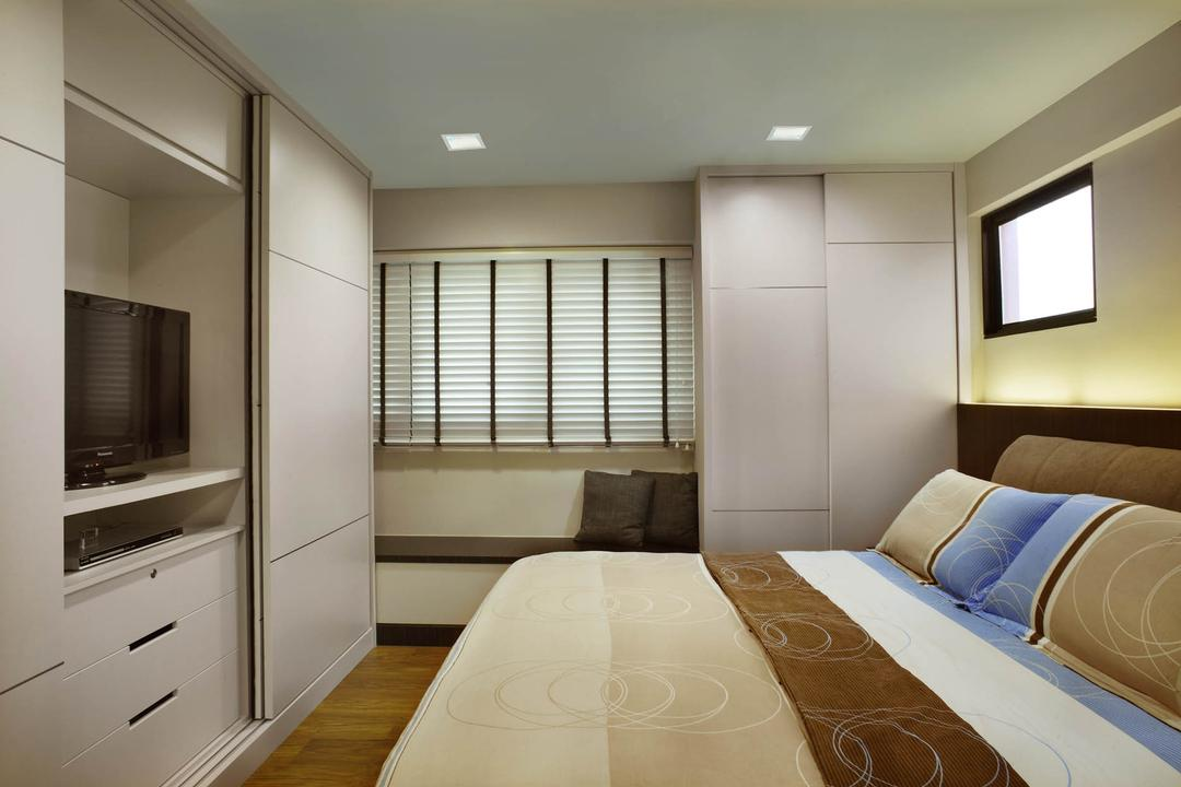 Sin Ming Avenue (Block 408), Imposed Design, Contemporary, Bedroom, HDB, King Size Bed, Recessed Lights, Flatscreen Tv, Roll Down Curtain, Wooden Floor, Hidden Interior Lighting, White Cabinet, White Wardrobe, Cozy, Cosy
