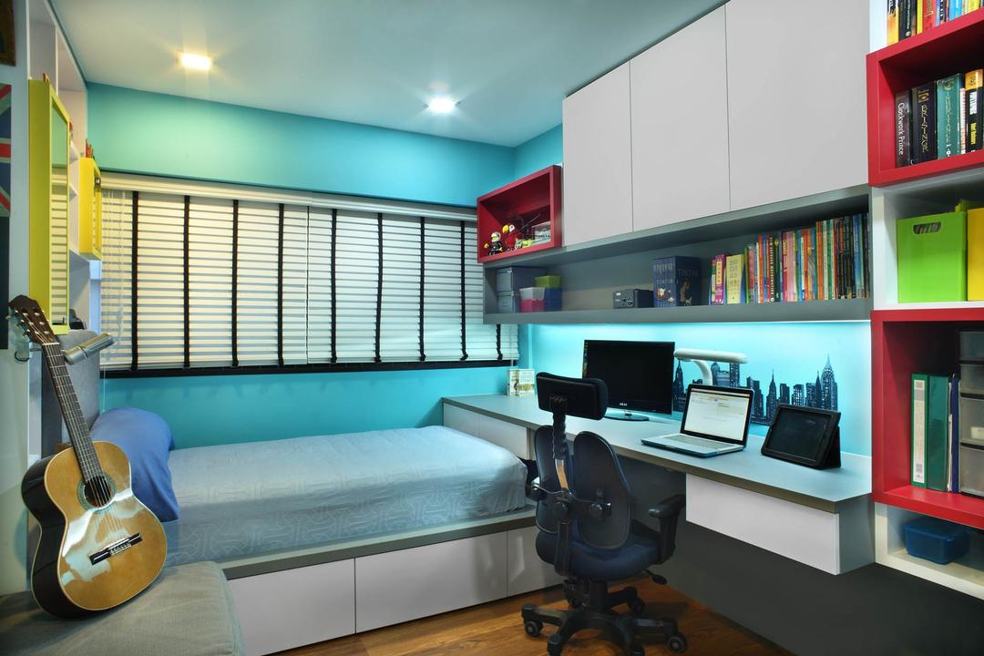 Sin Ming Avenue (Block 408), Imposed Design, Contemporary, Bedroom, HDB, Tifanny Blue Wall, White Cabinet, Recessed Lights, Tifanny Blue Bed, White Elevated Platform, Wooden Floor, Magenta Shelves, Colourful