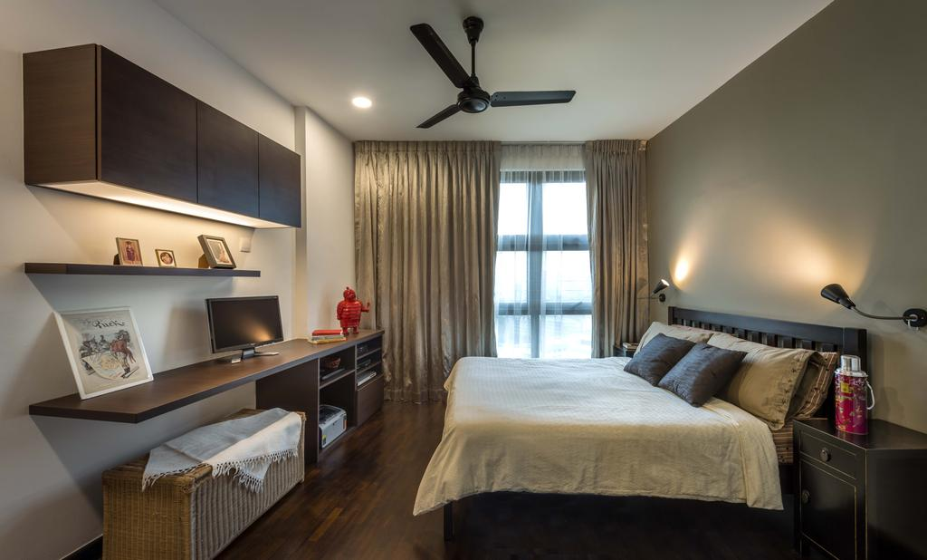 Scandinavian, HDB, Bedroom, 20 Marymount Terrace (Boon View), Interior Designer, Imposed Design, King Size Bed, Ceiling Fan, Sling Curtain, Cozy, Cosy, Hidden Interior Lighting, Recessed Lights, Wall Mounted Lights, Wooden Shelves, Wall Mounted Wooden Desk, Wooden Floor