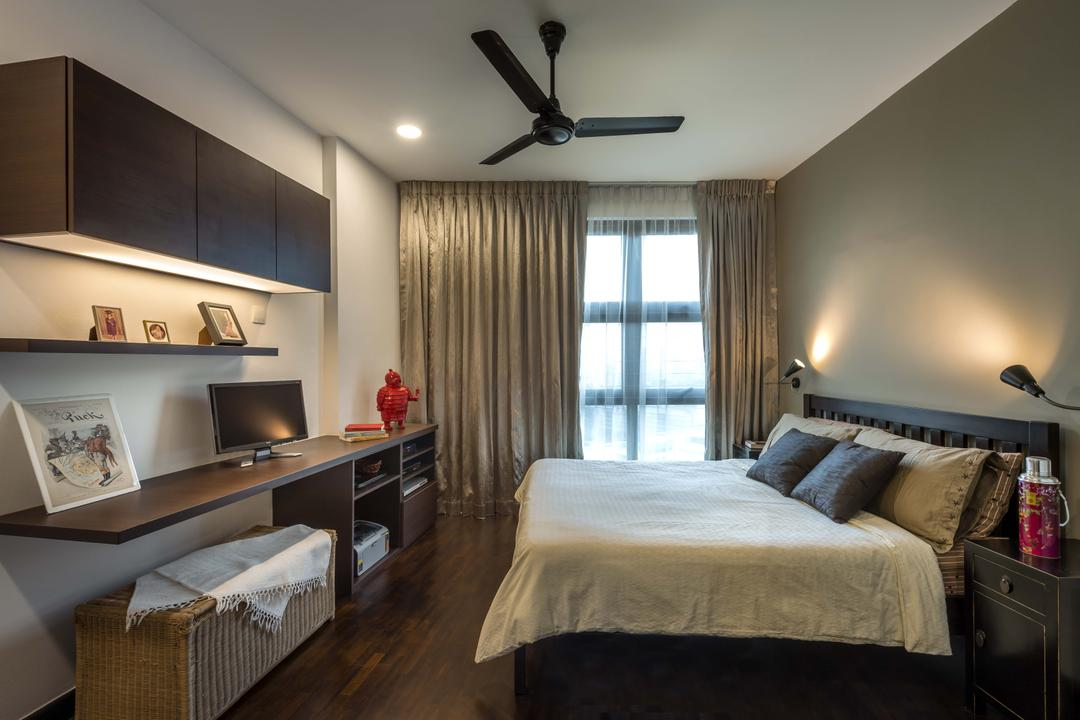 20 Marymount Terrace (Boon View), Imposed Design, Scandinavian, Bedroom, HDB, King Size Bed, Ceiling Fan, Sling Curtain, Cozy, Cosy, Hidden Interior Lighting, Recessed Lights, Wall Mounted Lights, Wooden Shelves, Wall Mounted Wooden Desk, Wooden Floor