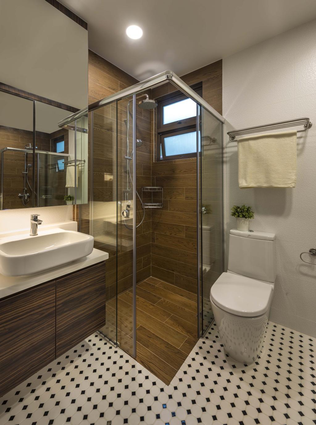 Scandinavian, HDB, Bathroom, 20 Marymount Terrace (Boon View), Interior Designer, Imposed Design, Pola Dot Floor, Modern Contemporary Bathroom, Recessed Lights, Wooden Bathroom Cabinet, Wooden Floor