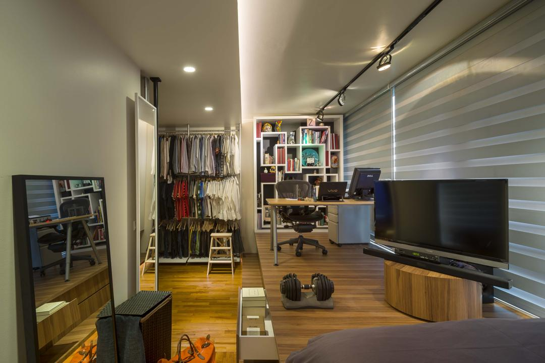 Prome Road (Nova 48), Imposed Design, Modern, Bedroom, Condo, Roll Down Curtain, Track Lights, Recessed Lights, Wooden Floor, Wall Mounted Shelves, Wall Mounted Wooden Desk, Modern Contemporary Bedroom