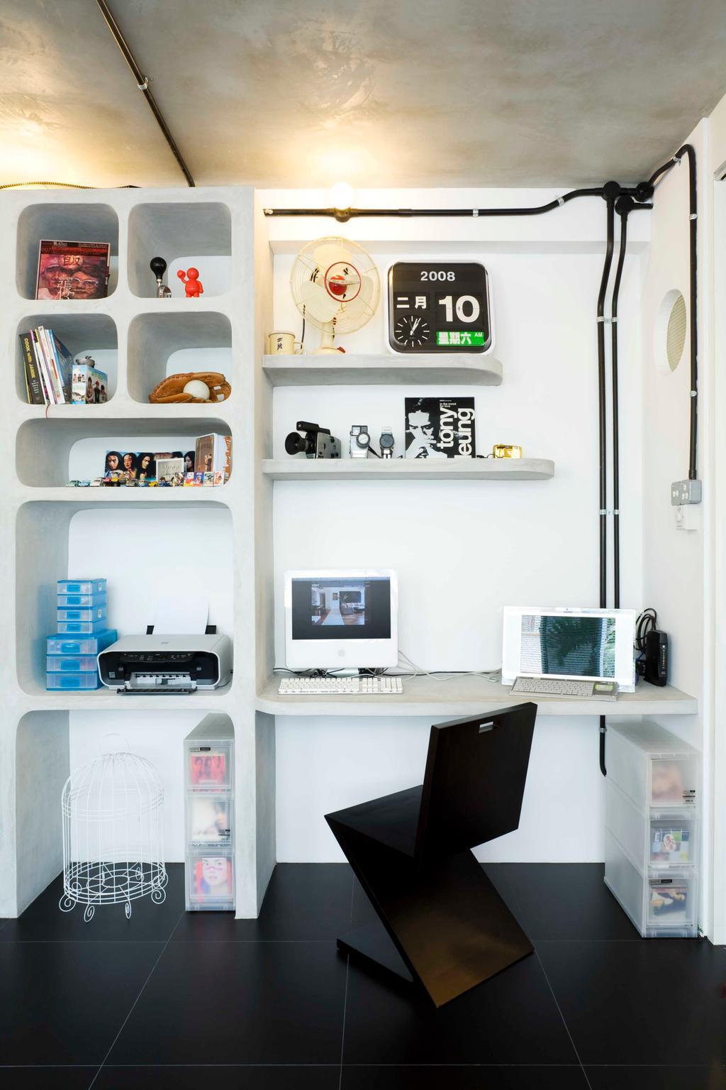 Eclectic, HDB, Study, Tiong Bahru, Interior Designer, Free Space Intent, Study Table, Display Shelf, White Laminate, Shelf