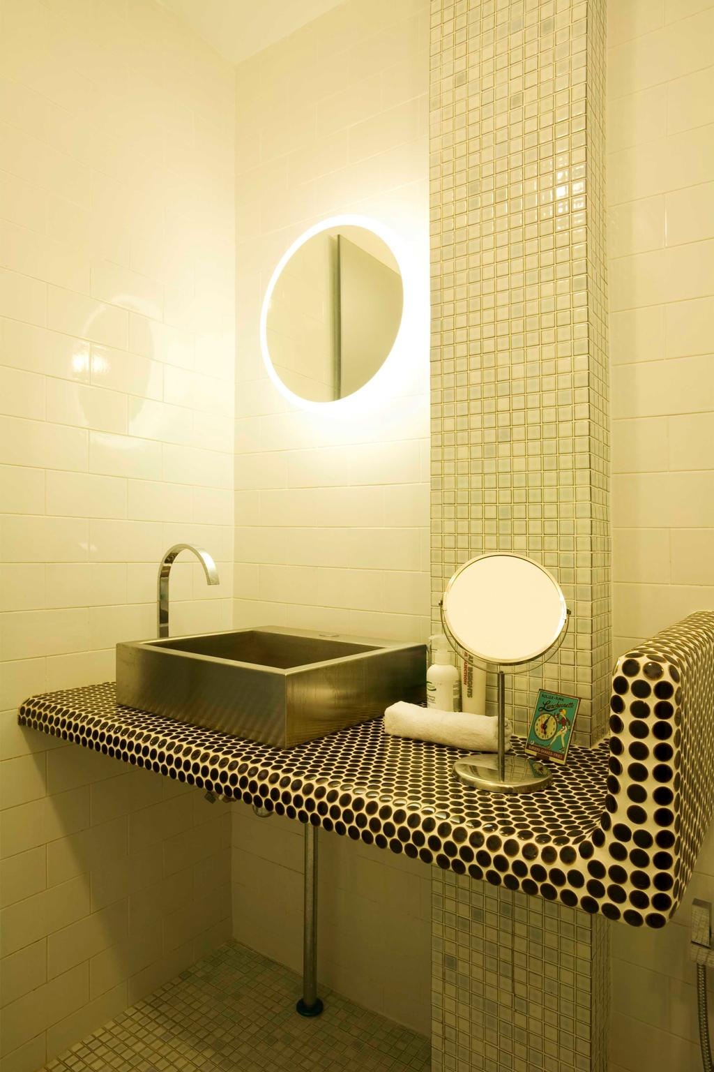 Eclectic, HDB, Bathroom, Tiong Bahru, Interior Designer, Free Space Intent, Mosaic Tiles, Concealed Light, Bathroom Tiles, Indoors, Interior Design, Room