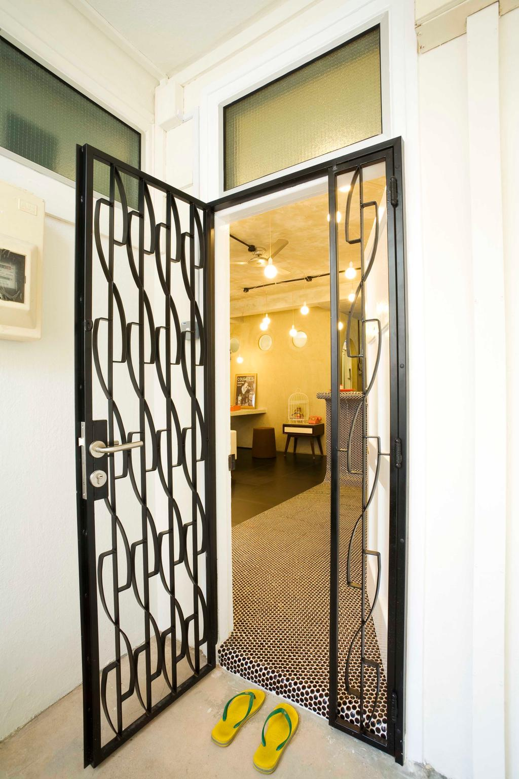 Eclectic, HDB, Living Room, Tiong Bahru, Interior Designer, Free Space Intent, Exterior, Gate