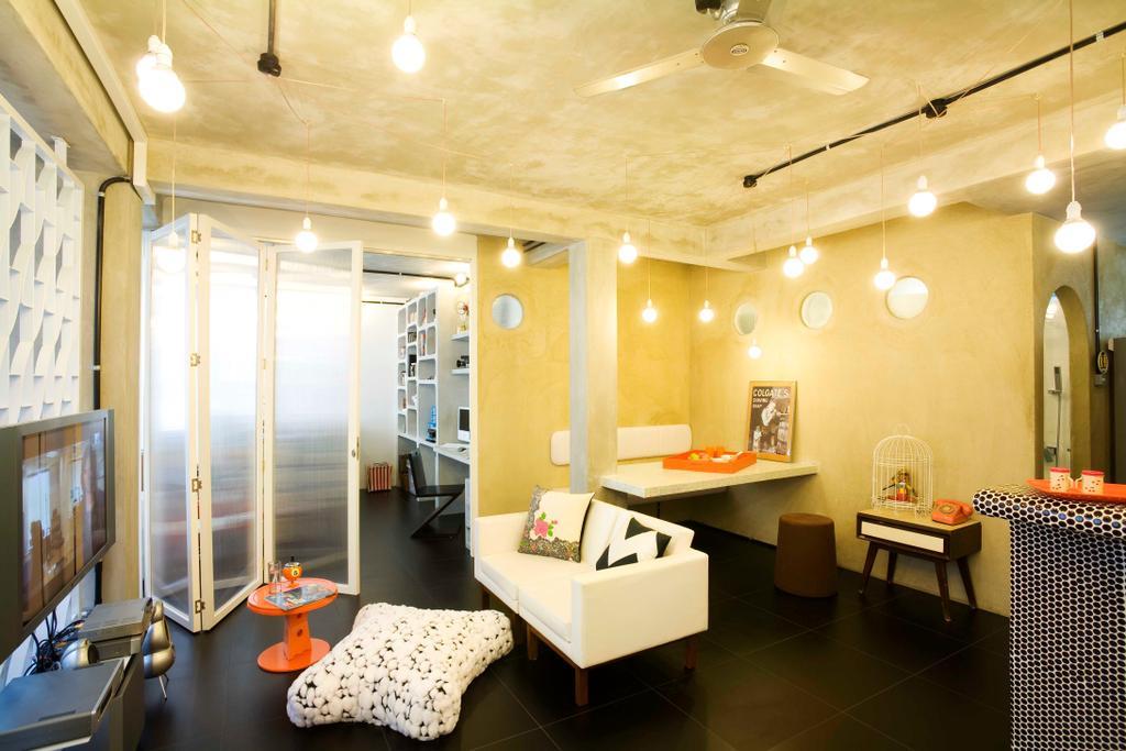 Eclectic, HDB, Living Room, Tiong Bahru, Interior Designer, Free Space Intent, Full Length Windows, Hanging Light, Exposed Lightbulb, White Interior, Dining Room, Indoors, Interior Design, Room, Bathroom