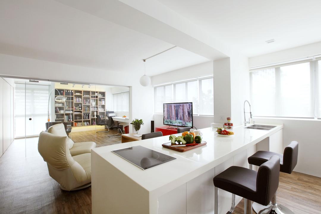 Telok Blangah, Free Space Intent, Modern, Dining Room, HDB, Parquet Flooring, Wooden Lfooring, White Wall, White Interior, High Chair, Sink, Indoors, Interior Design, Room, Dining Table, Furniture, Table