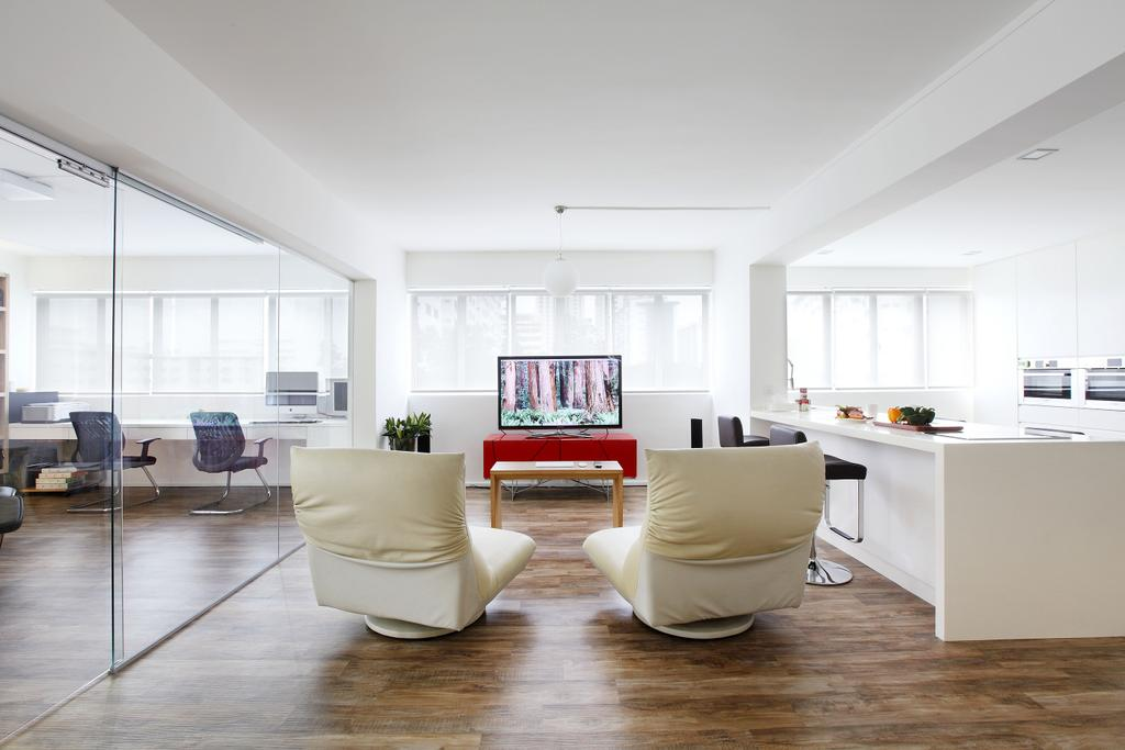 Modern, HDB, Living Room, Telok Blangah, Interior Designer, Free Space Intent, Parquet Flooring, Wooden Flooring, Blinds, Hanging Ligth, Flooring