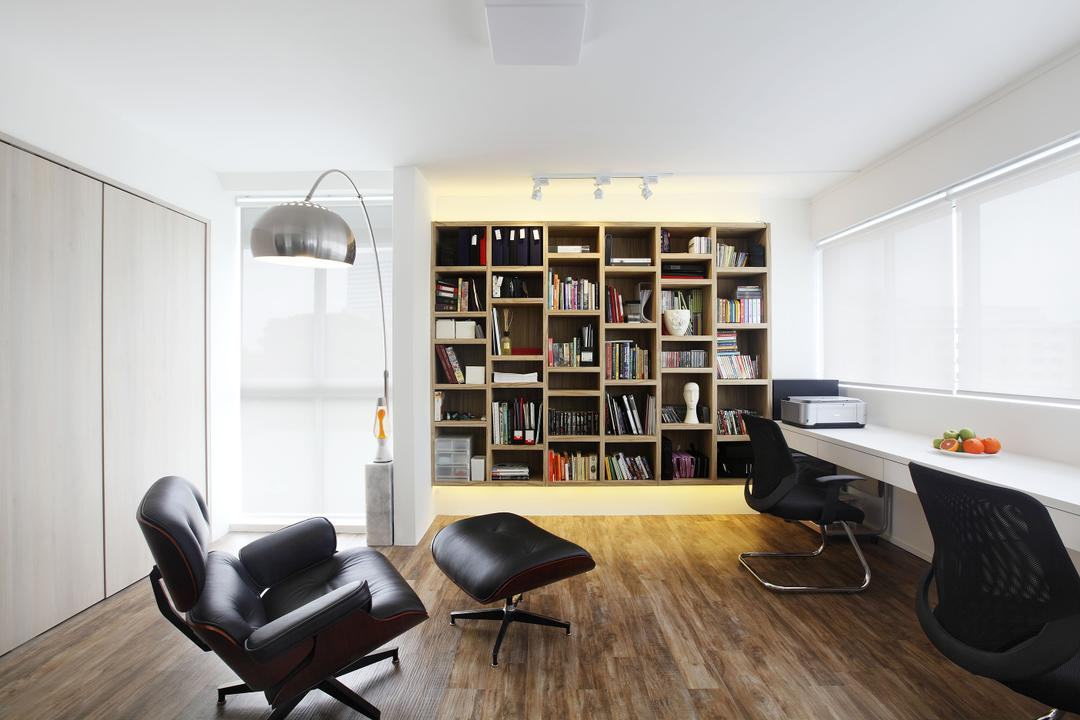 Telok Blangah, Free Space Intent, Modern, Study, HDB, Blinds, Book Shelf, Study Table, Laminate, Arched Standing Lamp, Chair, Furniture