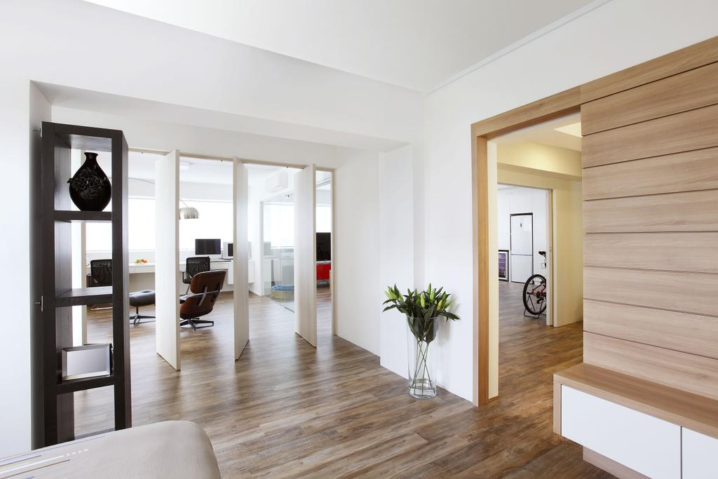 Modern, HDB, Bedroom, Telok Blangah, Interior Designer, Free Space Intent, Parquet Flooring, Wooden Flooring, Display Shelf, Laminate, Indoors, Interior Design, Flooring, Door, Sliding Door