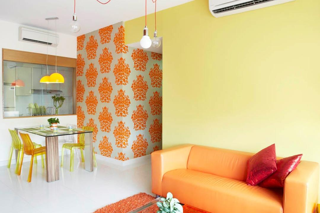Starville, Free Space Intent, Eclectic, Living Room, Condo, Glass Table, Carpet, Orange Sofa, Yellow Wall, Wallpaper, Exposed Lighbulb, Hanging Light, Glass Coffee Table, Dining Table, Furniture, Table, Couch, Indoors, Interior Design, Home Decor, Linen, Tablecloth, Room