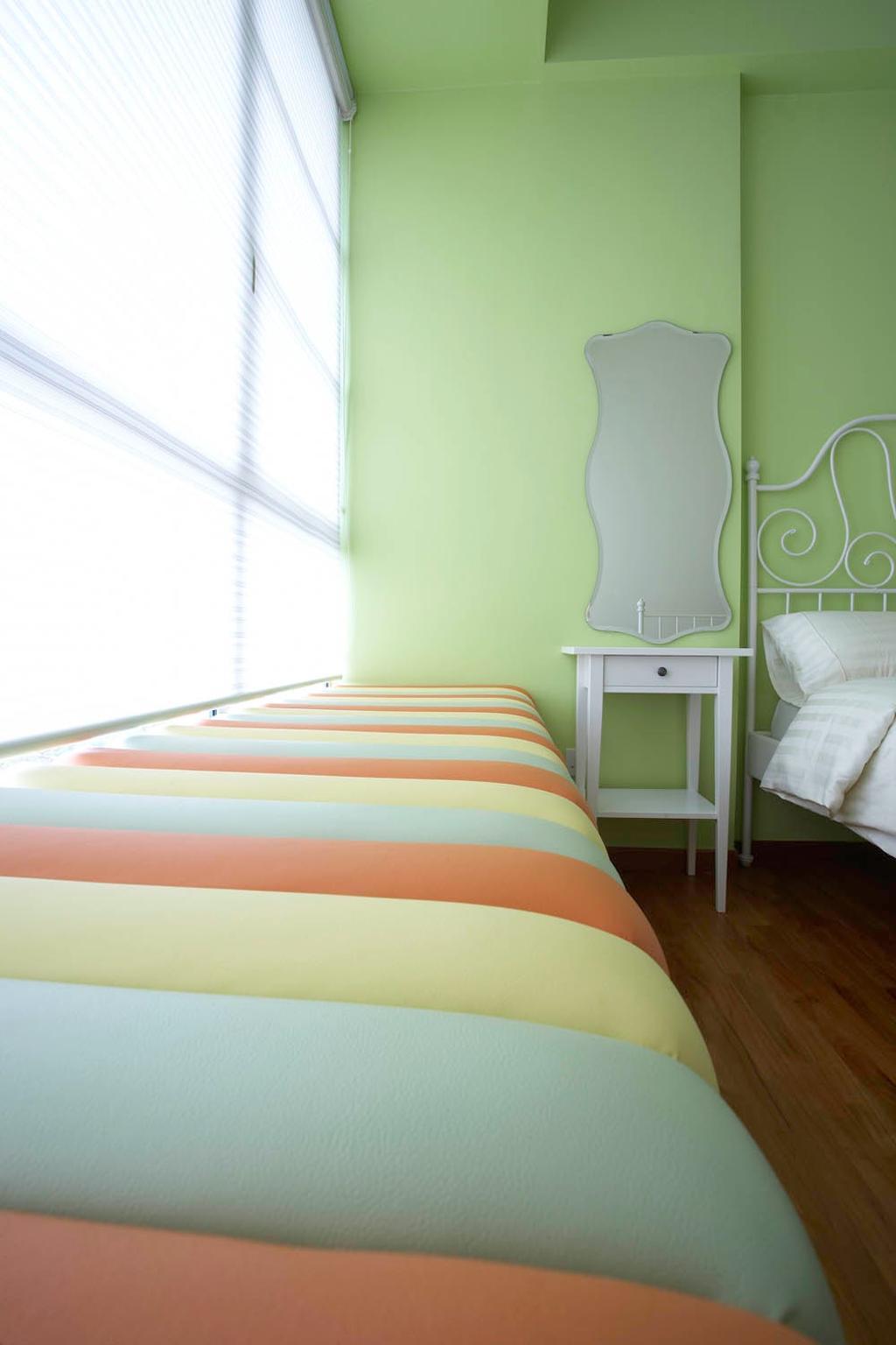 Eclectic, Condo, Bedroom, Starville, Interior Designer, Free Space Intent, Bay Window, Mirror, Poster Bed