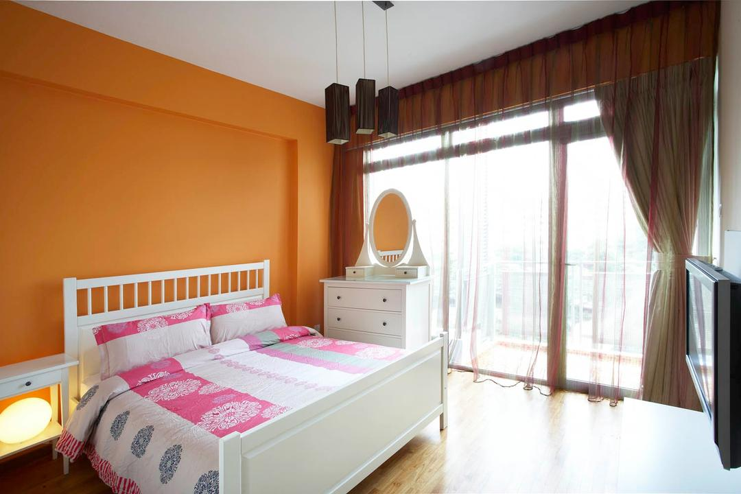 Starville, Free Space Intent, Eclectic, Bedroom, Condo, Hanging Light, Dresser, Orange Wall, Curtains, Full Length Window, Bed, Furniture