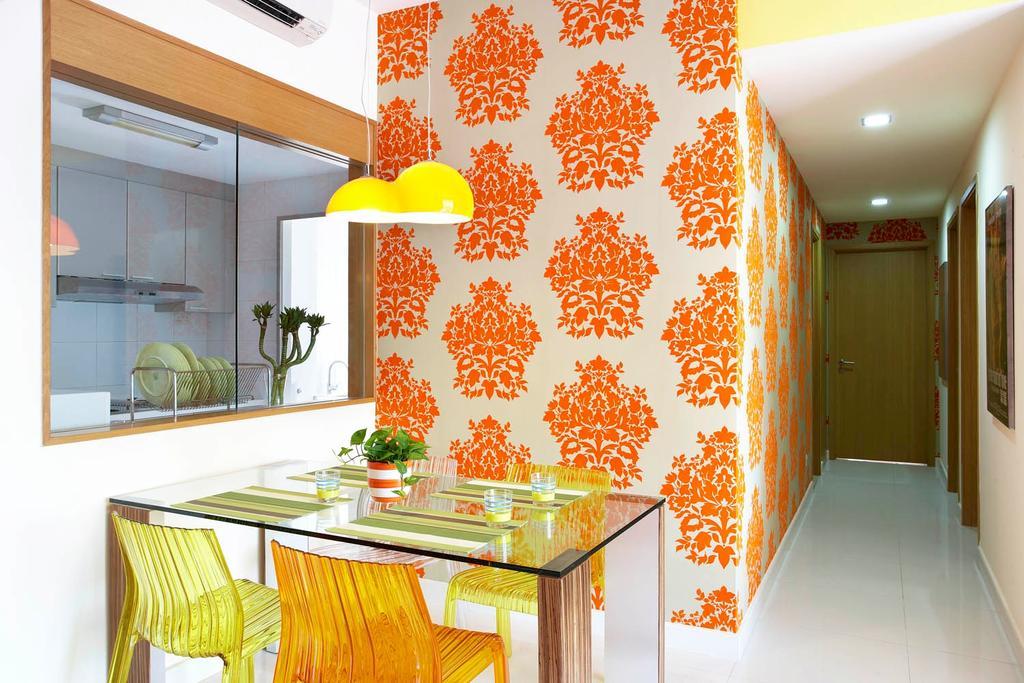 Eclectic, Condo, Dining Room, Starville, Interior Designer, Free Space Intent, Wallpaper, Glass Table, Hanging Light, Corridor, Indoors, Interior Design
