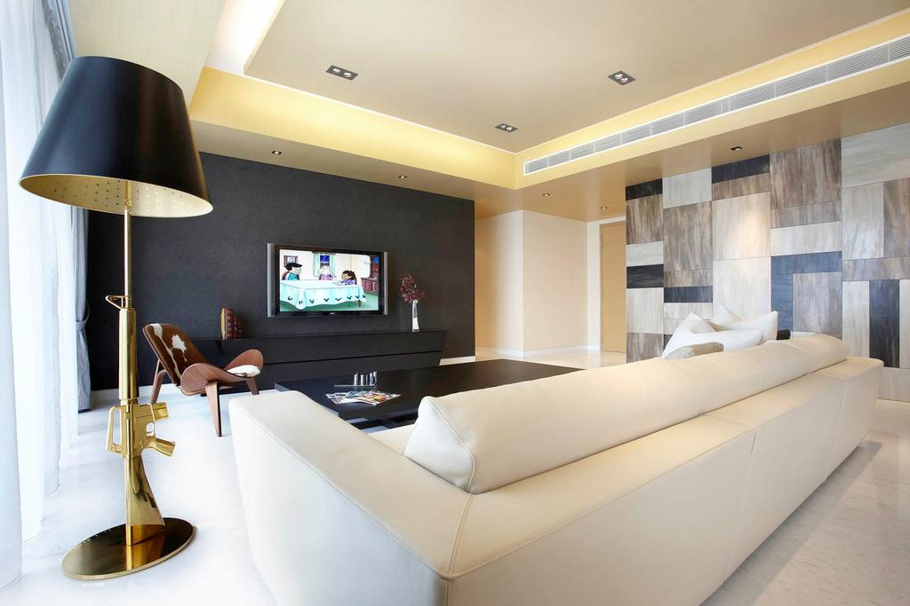 Modern, Condo, Living Room, St Regis Residence, Interior Designer, Free Space Intent, Cove Light, Concealed Lighting, Concealed Light, Standing Lamp, Feature Wall, Black Wall, Indoors, Interior Design, Chair, Furniture