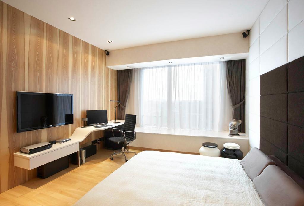 Modern, Condo, Bedroom, St Regis Residence, Interior Designer, Free Space Intent, Bay Window, Curtain, Headboard, Console, Wooden Laminate, Parquet Flooring, Wooden Flooring, Indoors, Interior Design