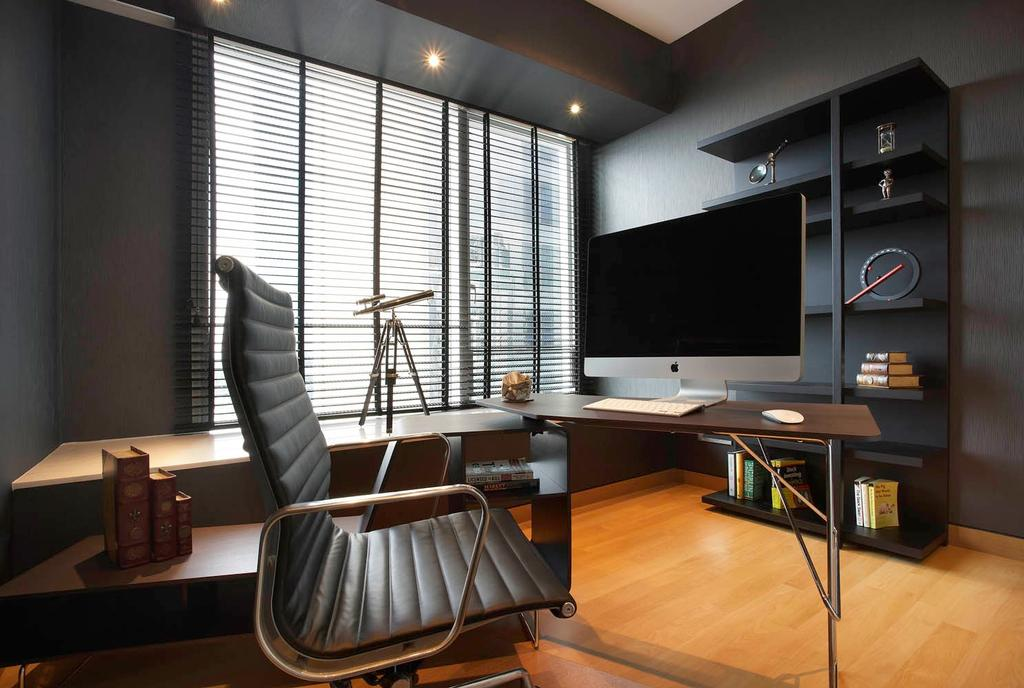 Modern, Condo, Study, St Regis Residence, Interior Designer, Free Space Intent, Leather Chair, Blinds, Parquet Flooring, Wooden Floor, Chair, Furniture, Electronics, Lcd Screen, Monitor, Screen