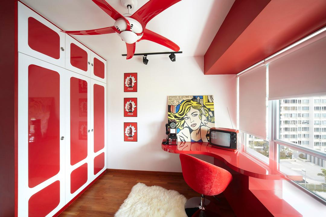 Simei Lane, Free Space Intent, Eclectic, Study, HDB, Blinds, Study Table, Red Study Table, Wardrobe, Wall Art, Red Laminate, Indoors, Interior Design