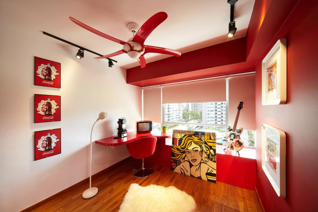 Eclectic, HDB, Study, Simei Lane, Interior Designer, Free Space Intent, Parquet Flooring, Wooden Flooring, Study Table, Wall Art, Paintings, Standing Lamp, Arching Lamp, Blinds, Dining Room, Indoors, Interior Design, Room, Glass, Bedroom