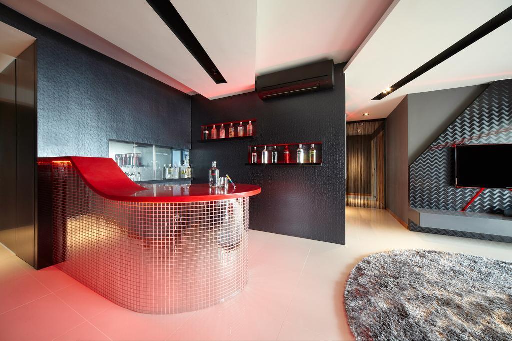 Eclectic, HDB, Dining Room, Simei Lane, Interior Designer, Free Space Intent, Bar Counter, Display Shelf, Rug