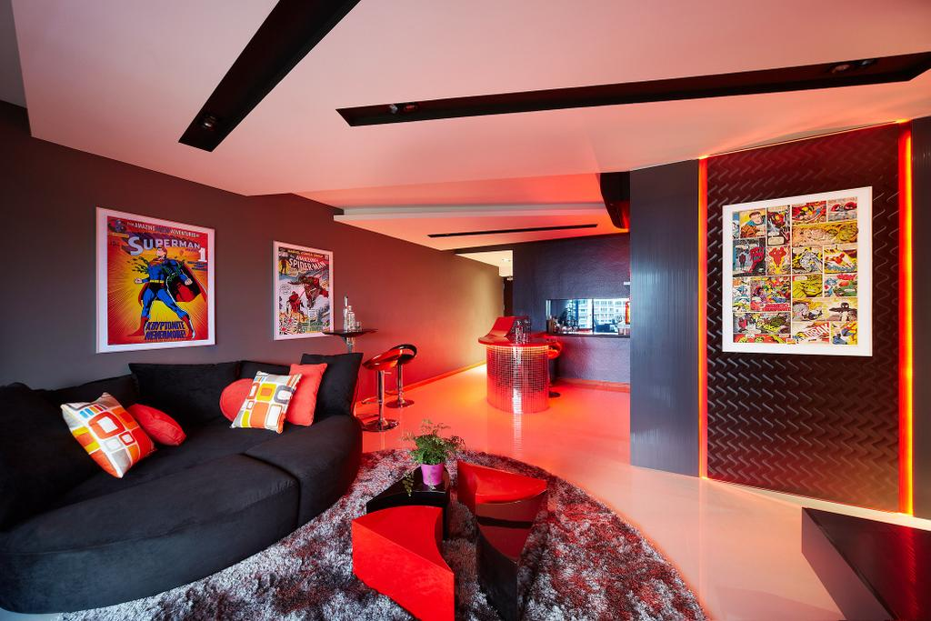 Eclectic, HDB, Living Room, Simei Lane, Interior Designer, Free Space Intent, Black Sofa, Paintings, Wall Art, Coffee Table, Carpet, Indoors, Interior Design