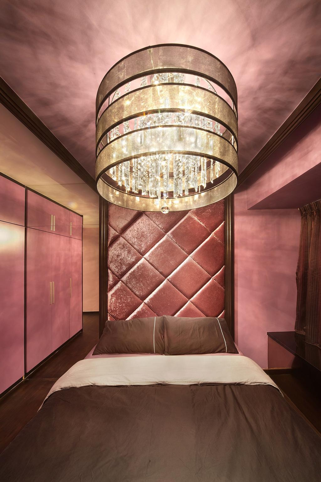 Eclectic, HDB, Bedroom, Simei Lane, Interior Designer, Free Space Intent, Headboard, Hanging Light, Chanelier, Pink Wall, Purple Wall, Chandelier, Lamp