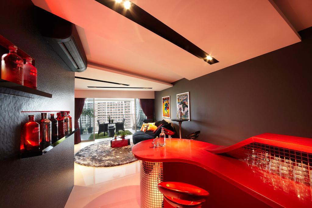 Eclectic, HDB, Dining Room, Simei Lane, Interior Designer, Free Space Intent, Display Shelf, Bar, Bar Counter, Spot Light, Bottle, Indoors, Interior Design