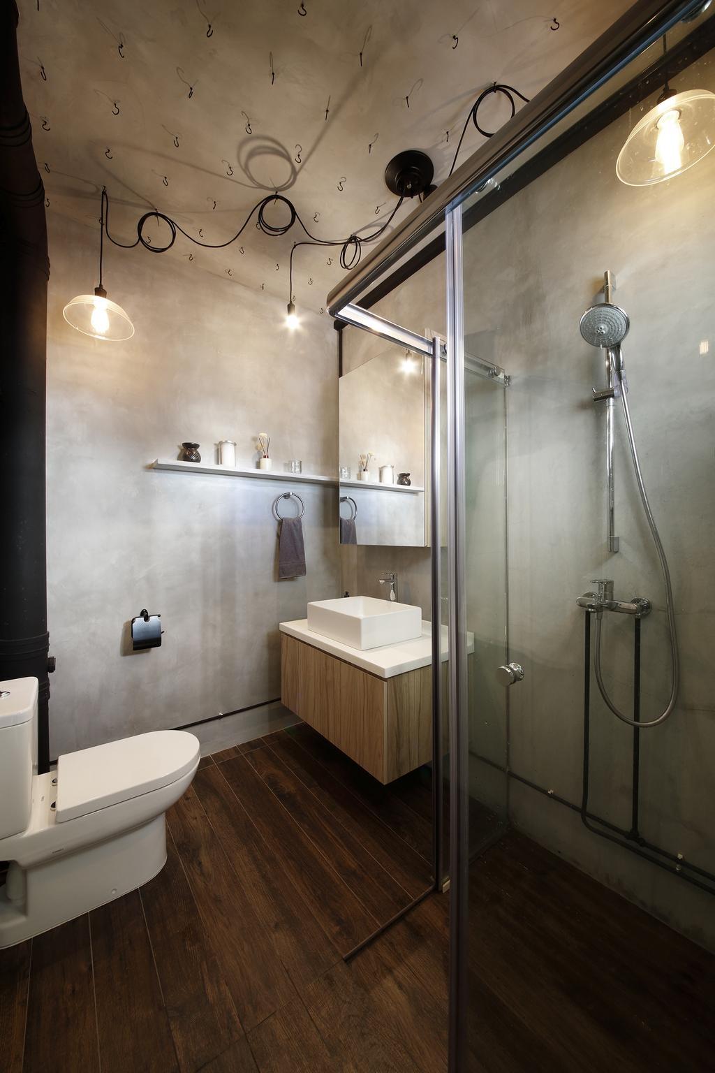 Industrial, HDB, Bathroom, Serangoon, Interior Designer, Free Space Intent, Parquet Flooring, Wooden Flooring, Hanging Light, Wooden Laminat, Sink, Indoors, Interior Design, Room