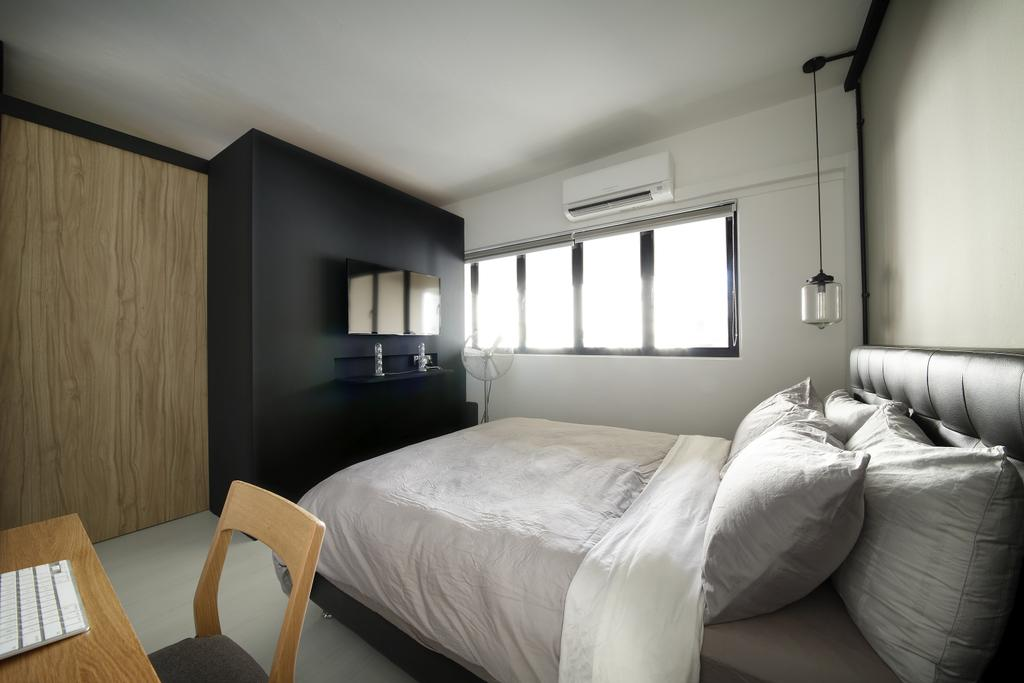 Industrial, HDB, Bedroom, Serangoon, Interior Designer, Free Space Intent, Wooden Laminate, Wardrobe, Hanging Light, Headboard, Bed, Furniture, Indoors, Room