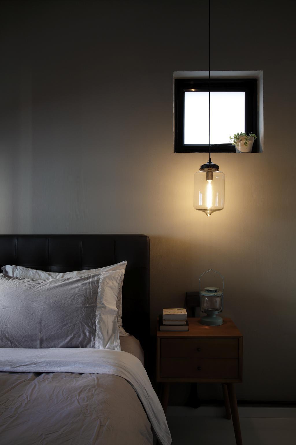 Industrial, HDB, Bedroom, Serangoon, Interior Designer, Free Space Intent, Hanging Light, Bedside Table, Headboard, Toilet, Lamp