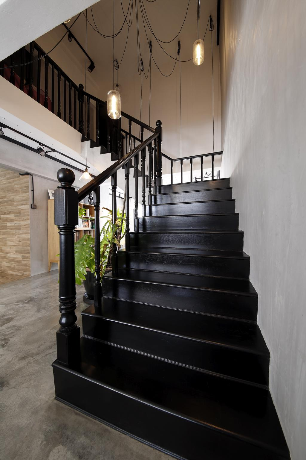 Industrial, HDB, Dining Room, Serangoon, Interior Designer, Free Space Intent, Hanging Lights, Staircase, Hanging Light, Flora, Jar, Plant, Potted Plant, Pottery, Vase
