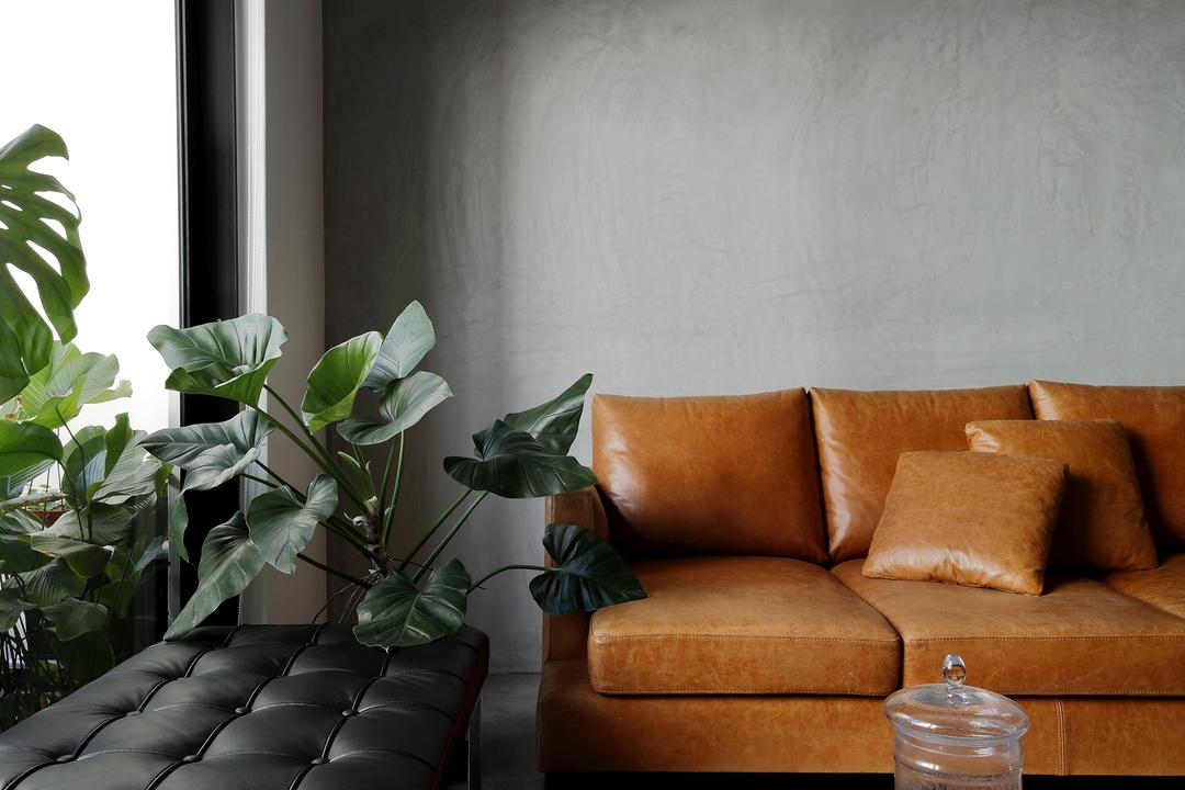 Serangoon, Free Space Intent, Industrial, Living Room, HDB, Leather Seat, Leather Sofa, Track Light, Black Trackie, Carpet, Black Track Light, Couch, Furniture, Flora, Jar, Plant, Potted Plant, Pottery, Vase, Chair