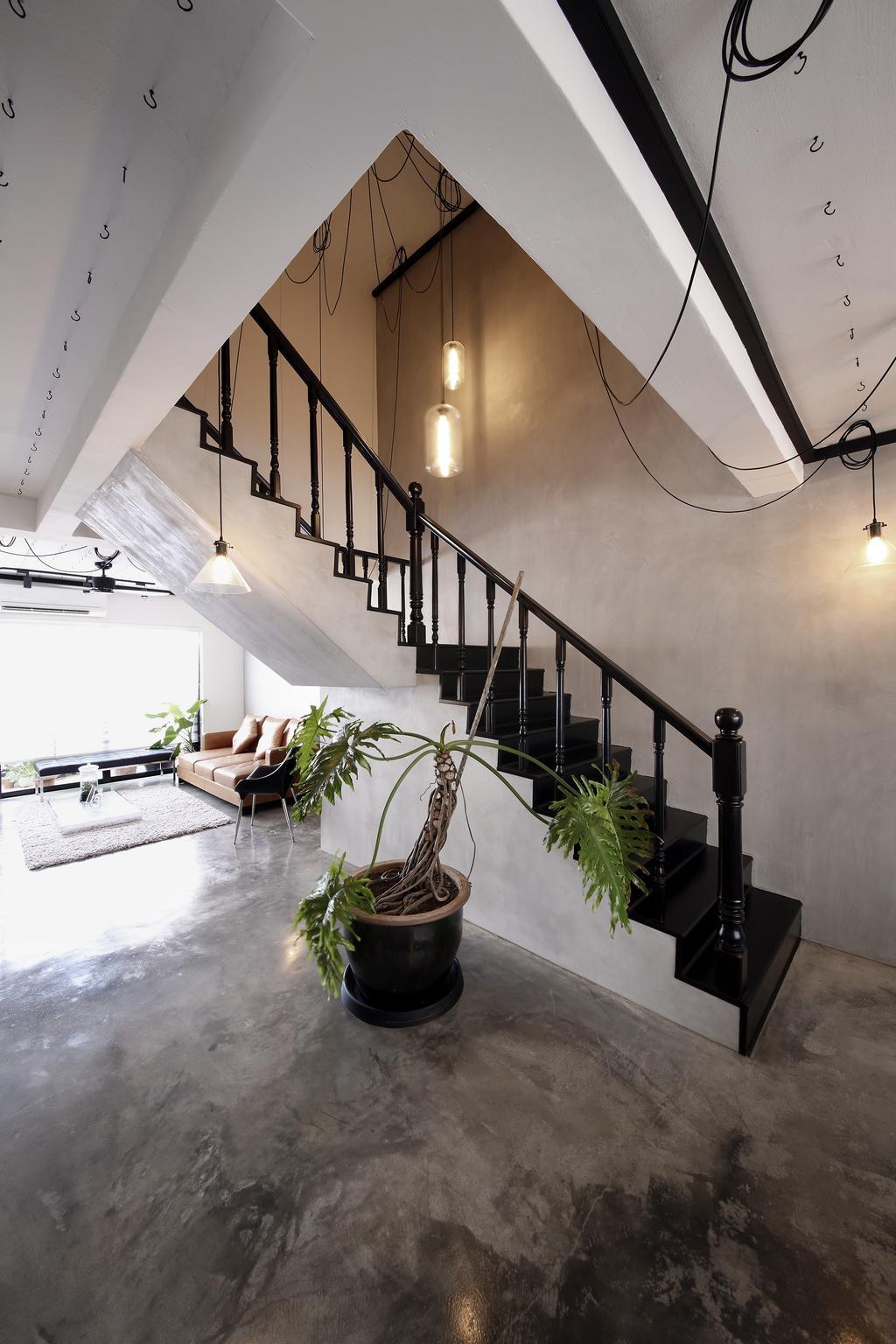 Industrial, HDB, Living Room, Serangoon, Interior Designer, Free Space Intent, Staircase, Hanging Light, Hooks, Flora, Jar, Plant, Potted Plant, Pottery, Vase, Bonsai, Tree, Banister, Handrail