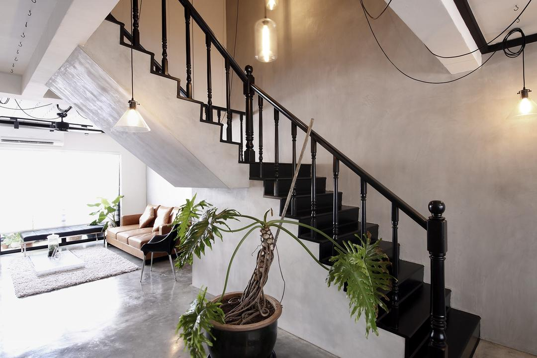 Serangoon, Free Space Intent, Industrial, Living Room, HDB, Staircase, Hanging Light, Hooks, Flora, Jar, Plant, Potted Plant, Pottery, Vase, Bonsai, Tree, Banister, Handrail