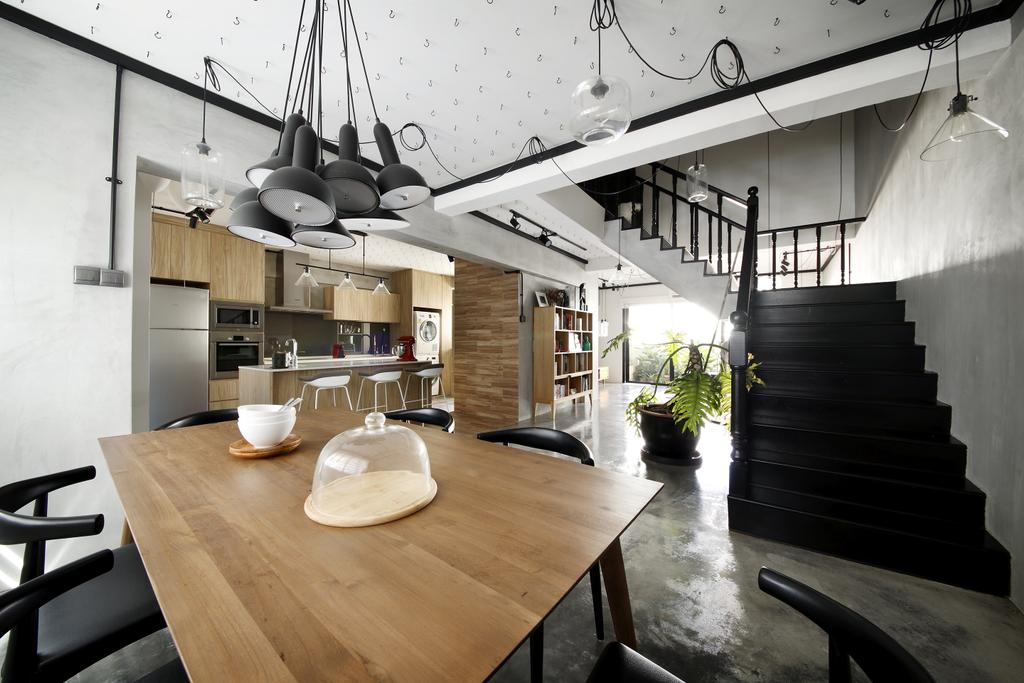 Industrial, HDB, Dining Room, Serangoon, Interior Designer, Free Space Intent, Wooden Table, Hanging Light, Laminate, Flora, Jar, Plant, Potted Plant, Pottery, Vase, Building, Housing, Indoors, Loft, Banister, Handrail, Staircase, Dining Table, Furniture, Table, Interior Design, Room